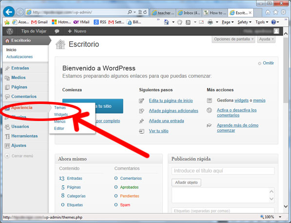 widgets en wordpress - apariencia