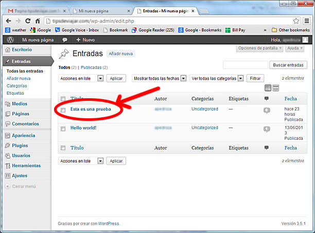 como usar wordpress - entradas
