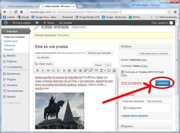 como usar wordpress - actualizar entrada