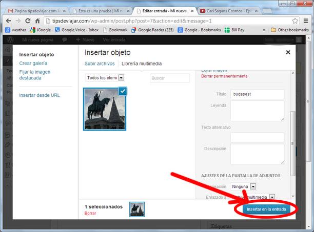 Como subir imágenes en WordPress -insertar