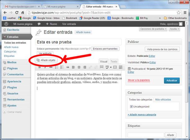 como usar wordpress - agregar objecto