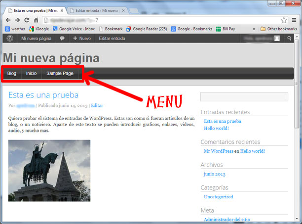 menus en wordpress - presentacion de menus- tutorial de wordpress