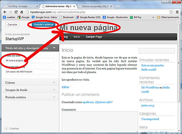 como usar wordpress - guardar titulo de sitio