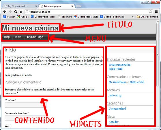 como usar wordpress - elementos