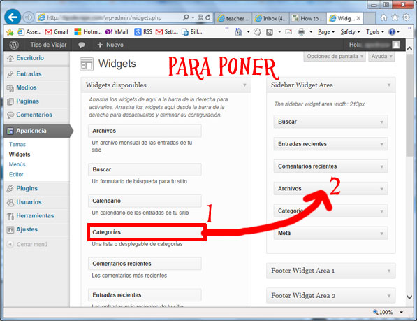 widgets en wordpress - poner widgets