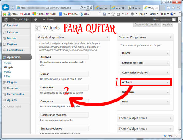 widgets en wordpress - quitar widgets