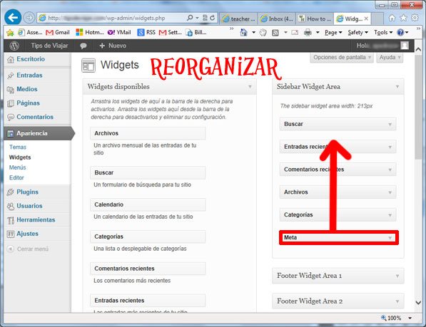 widgets en wordpress - reorganizar widgets