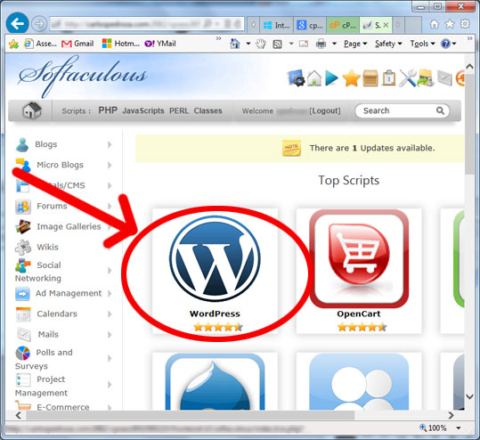 como instalar wordpress - softaculous wordPress