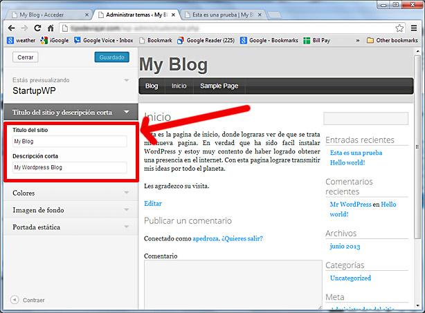 como usar wordpress - titulo de sitio