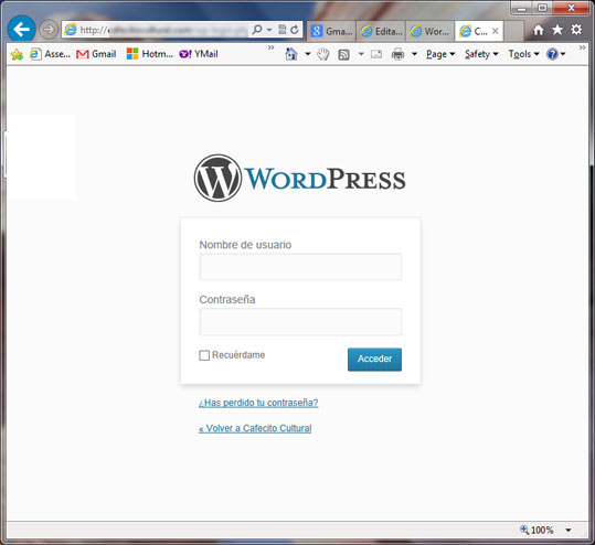 Acceso a la pagina de Administracion de WordPress