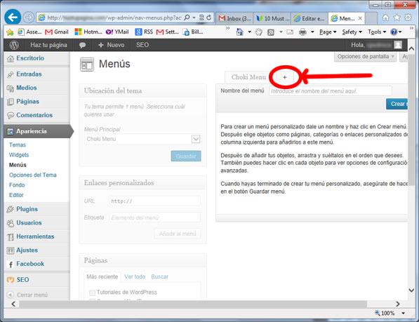 menus en wordpress -  agregar menu