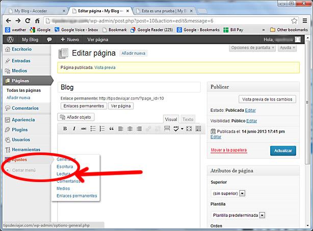 como usar wordpress - ajustes lectura