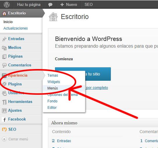 menus en wordpress - apariencia Menus
