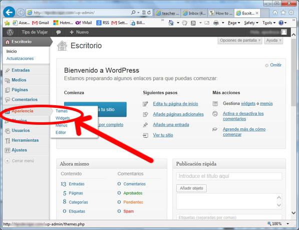 widgets en wordpress - apariencia