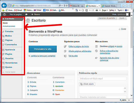La barra lateral de WordPress