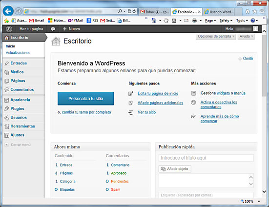 El Escritorio de WordPress