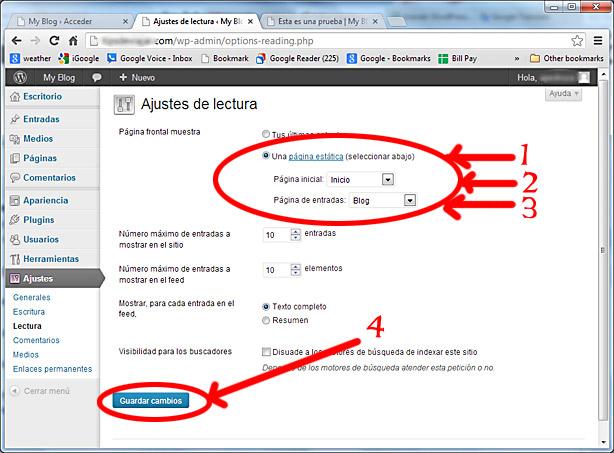 como usar wordpress - ajustes lectura 2