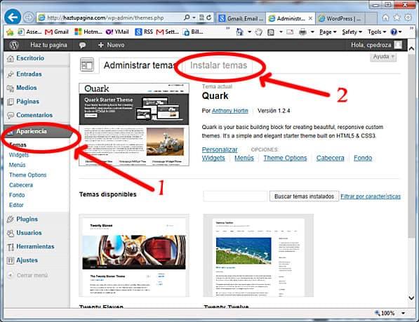 como usar wordpress - instalar temas