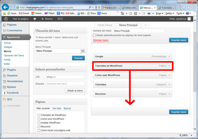 menus en wordpress -menu organizar