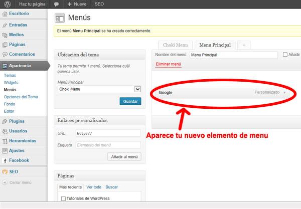 menus en wordpress -menu Personalizado