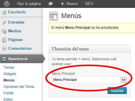menus en wordpress -menu Principal Lleno