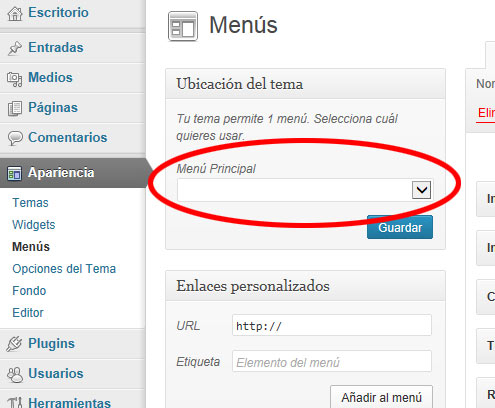 menus en wordpress - menu Principal Vacio