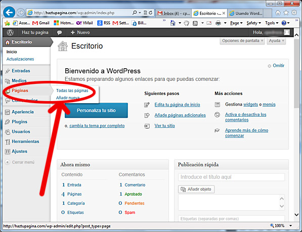 como usar wordpress - paginas