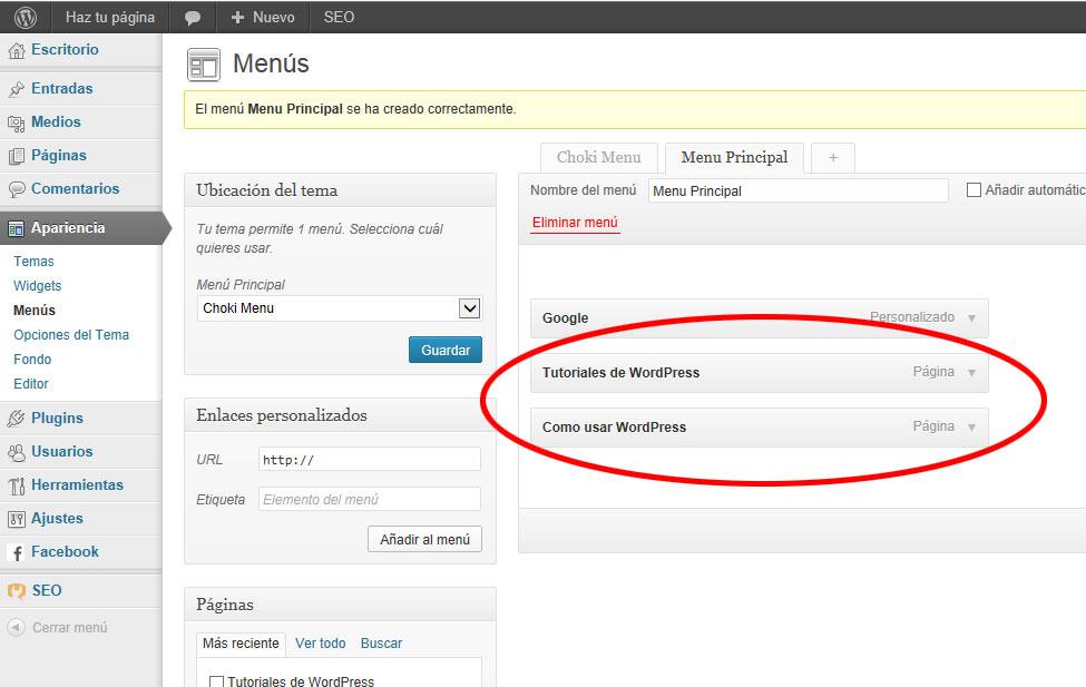 menus en wordpress -paginas Menu