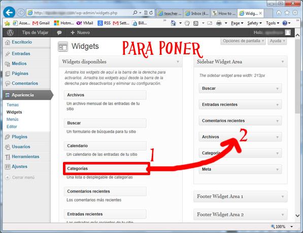 widgets en wordpress - poner widgets