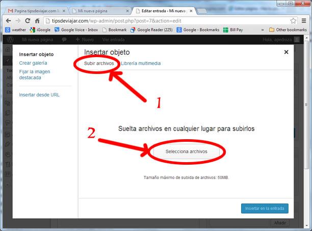 como usar wordpress - insertar objecto