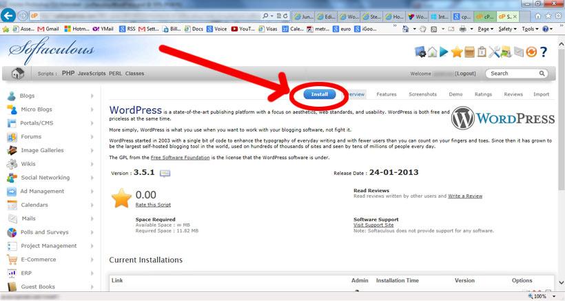 como instalar wordpress - wordPress install