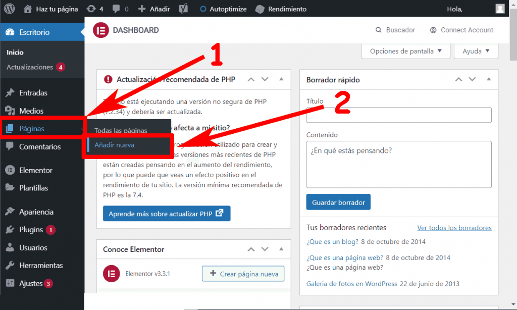 Añadir nueva pagina de WordPress