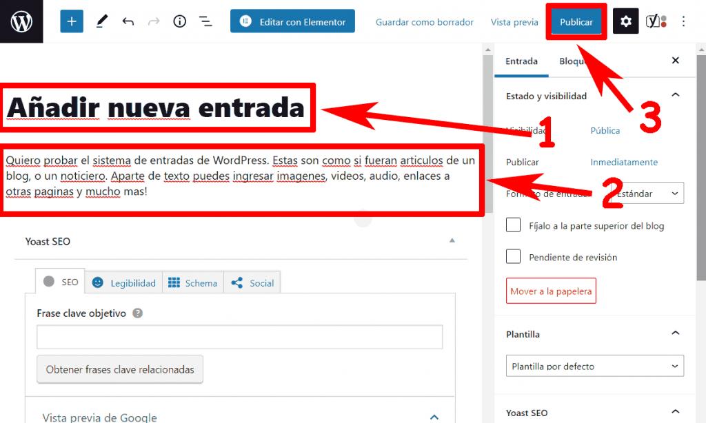 Crear una Entrada WordPress