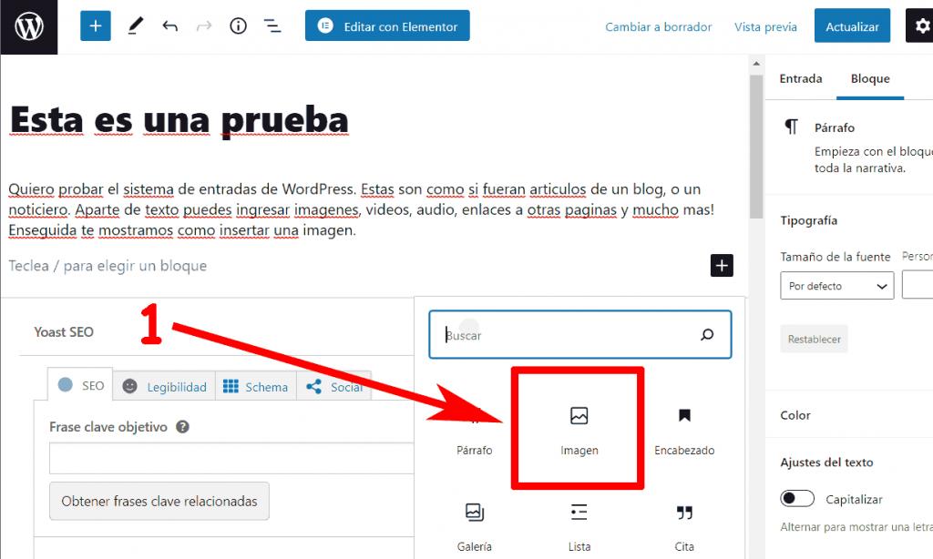 Insertar Imagen WordPress