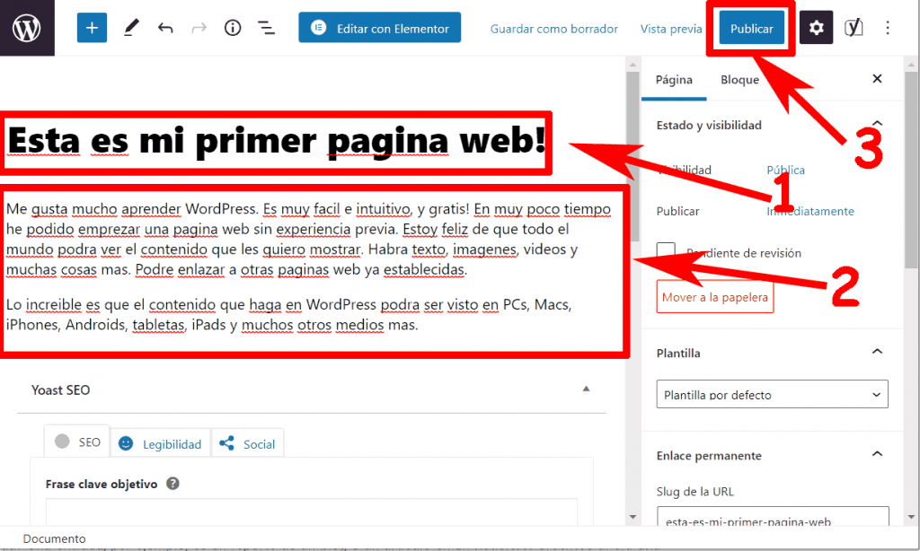 Crear una nueva pagina en WordPress