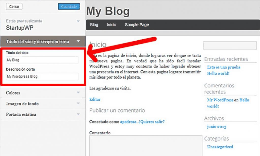 Wordpress Titulo y descripcion corta
