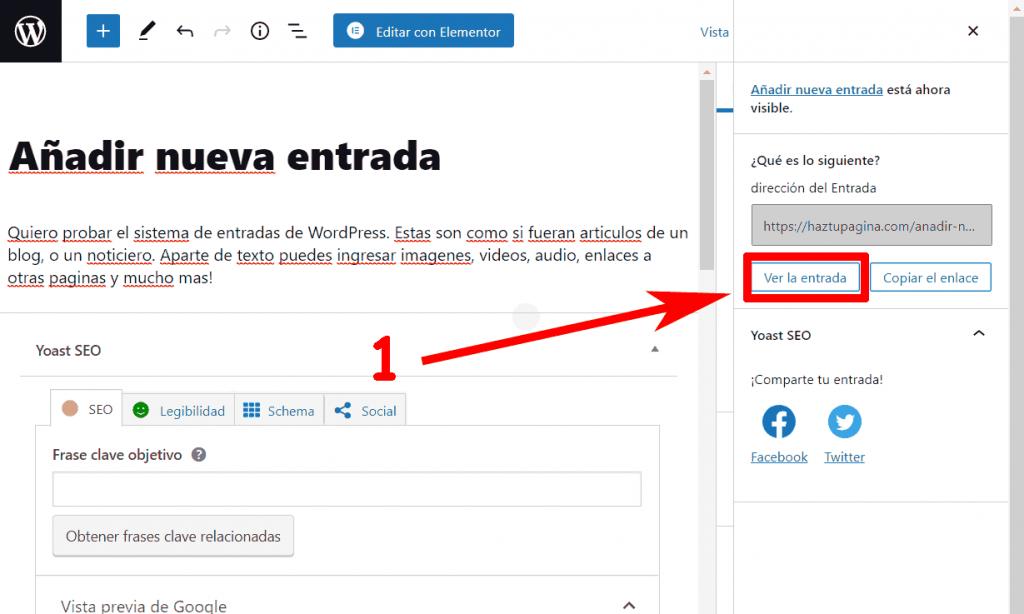 Ver nueva entrada WordPress
